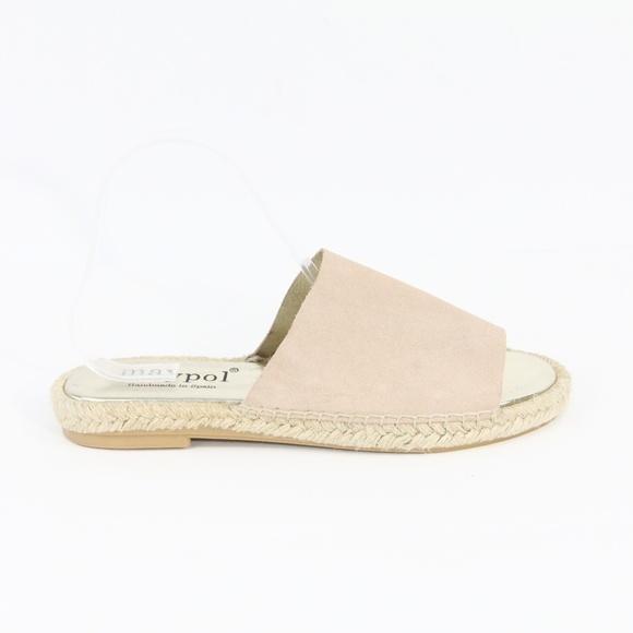 Maypol Espadrille Slides Leather Sandals New